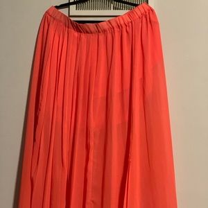 Dresses & Skirts - Women's Coral front pleated long skirt